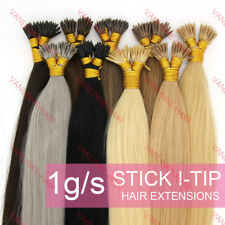 Thick 1g/s Keratin Stick I-Tip Fusion Remy Real Human Hair Extensions Straight