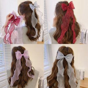 Lace Bow Long Ribbon Hairpin Women Girl Hairclip Braid Hairgrip Hair Accessories