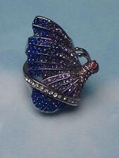 BUTTERFLY Fashion Jewelry  BIG SILVER  RING  w/ SWAROVSKI STONES  WOMENS  size 6