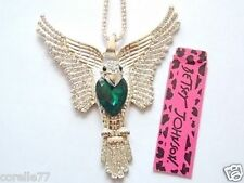 SPREAD WINGS EAGLE PERSONALITY NECKLACE & CHARM Crystal Alloy BLING Betsey