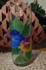 Hand Painted Glass Vase Pansies Floral
