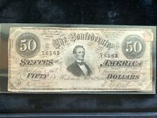 Confederate Currency 1864 Fifty Dollars T-66 / 496 1 St Series