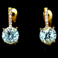 NATURAL 6mm. SKY BLUE TOPAZ & WHITE CZ STERLING 925 SILVER EARRINGS