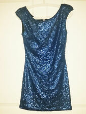 Womens Evening Blue Sequin Party Mini Dress MINKPINK - Worn Once
