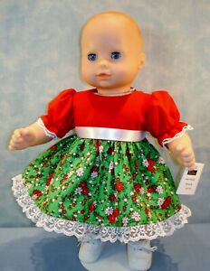 """15"""" Doll Clothes Red, Green Poinsettias Christmas Dress by Jane Ellen"""
