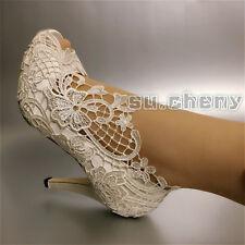 "su.cheny 3""4"" Silk satin white ivory bow peep open toe heel Wedding Bridal shoes"