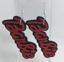 Oversized Black Red Barbie Earrings Charm Silver Plt Hooks G210 Giant