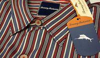 NWT $138 Tommy Bahama Red Blue Striped LS Shirt Mens Size M L XL XXL Silk Cotton