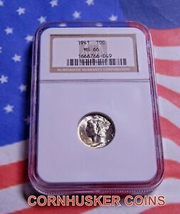 1941 MERCURY SILVER DIME NGC MS 66 ~ BRIGHT WHITE ~ GREAT EYE APPEAL  👀
