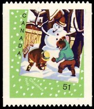 """CANADA 2184i - Christmas Cards """"Snowman"""" Die-cut to Shape (pa53005)"""