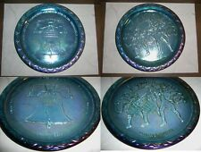 blue CARNIVAL GLASS plates Liberty Bell Spirit 1776 Indiana USA iridescent lot