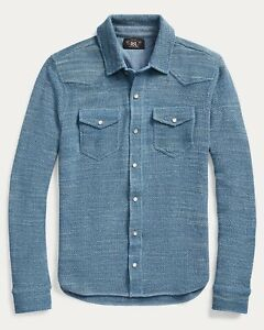 RRL Ralph Lauren Vintage Inspired Faded Blue Cotton Western Shirt Sweater- XL