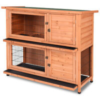 """48"""" Wooden Outdoor Rabbit House Hutch Bunny Pig Small Animal Pet w/ Ladder"""