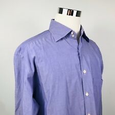 Corneliani Mens XL Luxury Casual Shirt Purple Button Front 100% Cotton Italy