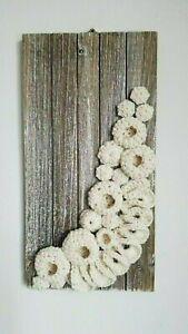 "Handmade free form crochet on wood base 14"" x 7"", Wall Art Decor"