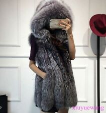 Real Genuine Fox Fur Coat Ladies Winter Vest Fur Gilet Thick Warm Hooded Jackets