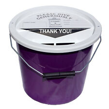Charity Fundraising Money Collection Bucket 5.7 Litres - Purple