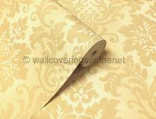 Crema y Oro con tela brillo, sólido Vinilo, Efecto, Damasco Diseño De Papel Tapiz