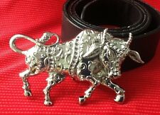 3D COW BULL RODEO STEER TEXAS LONGHORN BULLFIGHTER MATADOR BUCKLE LEATHER BELT
