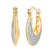 Gold Plated Two-Tone & Swarovski Crystal Heart-Cut-Out Basket Hoop Earrings