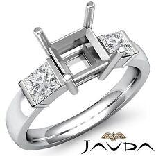 Diamond 3 Stone Engagement Classic Ring 18k White Gold Princess Semi Mount 0.6Ct