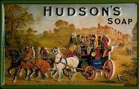 Hudsons Savon Pancarte en Tôle Signe Métal 3D Relief Voûté Étain 20 X 30 CM
