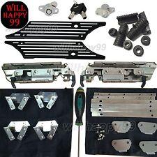 Black Billet Saddlebags Latch Cover Hardware Kit w/ Lock Set for Harley Touring