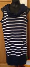 E-VIE NAVY & WHITE STRIPED THIGH LENGTH WIDE COWL NECK TOP - SIZE 8