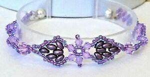 Handmade Amethyst Crystal Double Leaves Magnetic Bracelet