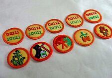 "10 Vintage Girl Scout Round Progressive Proficiency Badges, Orange  & Tan 1-1/2"""