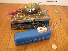 vtg tin military WAR TANK army marine ME 060 remote wwi wwii us camo truck toy