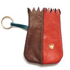 Vintage Leather Jewelry Pouch Gold Crown Travel Case Red Brown Navy Organizer