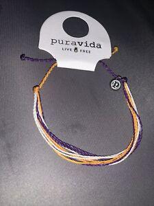 NEW Pura Vida Gold White Purple Sport Team School Bracelet