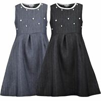 Girls Cotton Zip Denim Dress Teenagers Skater Pearl Piping Details Top 3-14 Y