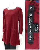 Womens Gudrun Sjoden Organic Cotton Velvet Tunic Shirt Burgundy Pocket Size S