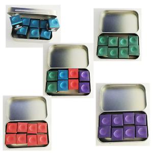 Pool  Snooker Chalk 8 Cubes Cue Tip Metal Storage Tin ;Green Blue Red Purple