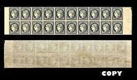 FRANCE, 1849, 20c Black LARGE SHEET OF 20   COPY