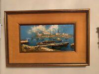 Vintage Original Oil painting seascape sail boats in harbor Wood Frame, Velvet