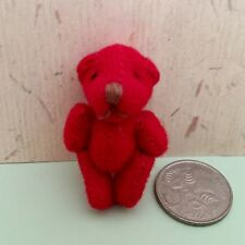 TINY **RED** TEDDY BEAR - MOVING ARMS + LEGS **VERY CUTE** DOLLS HOUSE