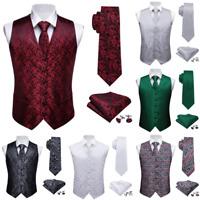 Mens Waistcoat Dress Vest Silk Red Black Green Blue White Paisley Set Suit Tie