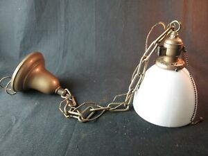 antique milk glass hanging light vintage lamp chain pull chain swag fixture
