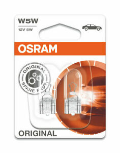OSRAM Original W5W 12V 5W Car Licence Capless Plate Side Lights Bulbs Twin Pack