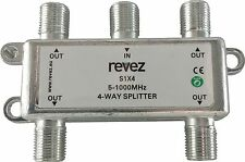 4 Way TV Splitter 5-1000MHz for Saorview Freeview UPC NTL VIRGIN DIGITAL F Type