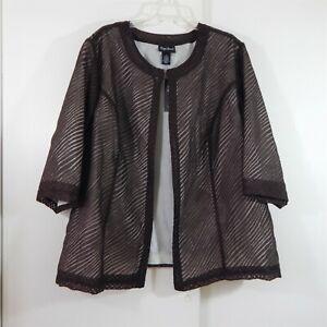 NEW brown MAGGIE BARNES jacket 3/4 sleeve lightweight woman plus 2X 22W 24W