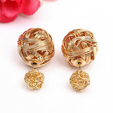 Fashion Women Double Sides Pearl Earring Two Ball Stud Earrings Piercing 1 Pair