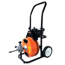 Sewer Snake Machine 75x12 Electric Drain Cleaner Auger Power Feed 5 Cutters