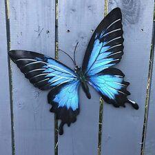Bright Blue Metal Butterfly Garden Ornament Wall Art Decoration Factory Seconds