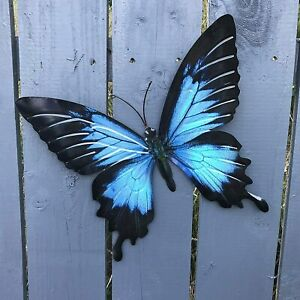 Large Bright Blue Metal Butterfly Garden Ornament Wall Art Decoration GIFT BOX
