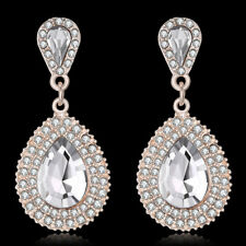 18K Gold Filled Clear Tear Drop Crystal With CZ Around Earrings Gift