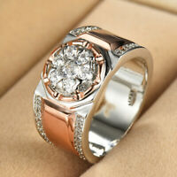 Fashion White Sapphire CZ Two Tone Mens Ring 925 Silver Men Women Jewelry Sz7-13